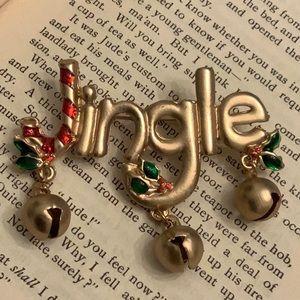 Vintage Jingle Candy Cane Bells Gold Tone Brooch